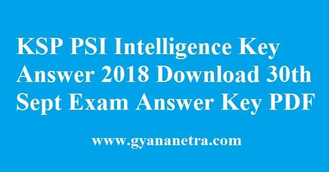 KSP PSI Intelligence Key Answer