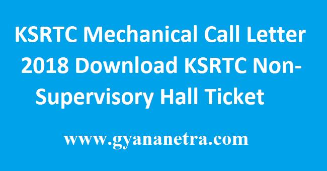 KSRTC Mechanical Call Letter