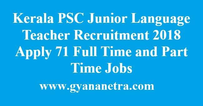 Kerala PSC Junior Language Teacher Recruitment