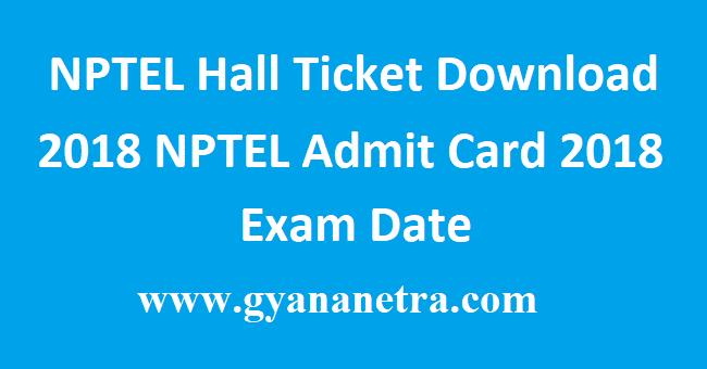 NPTEL Hall Ticket Download