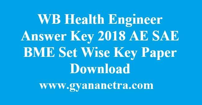 WB Health Engineer Answer Key