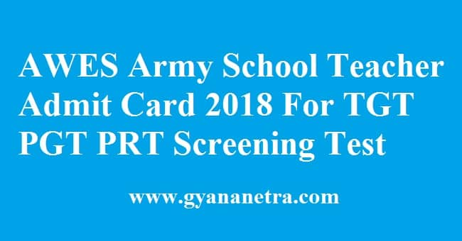 AWES Army School Teacher Admit Card