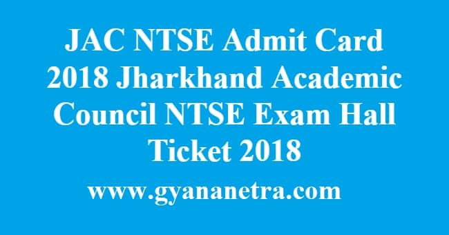JAC NTSE Admit Card
