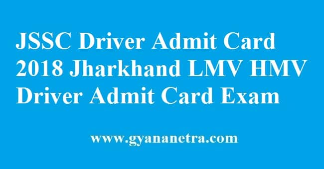 JSSC Driver Admit Card