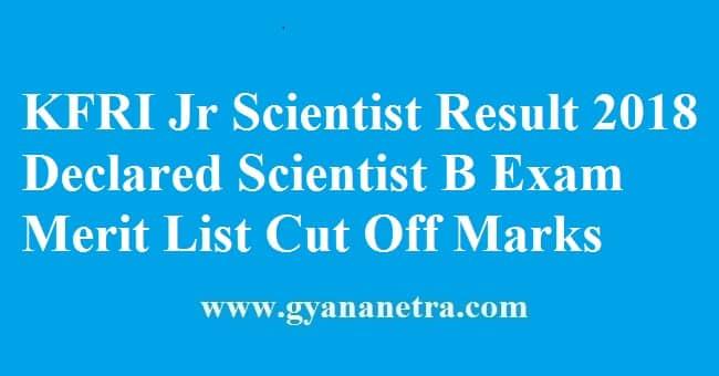 KFRI Jr Scientist Result