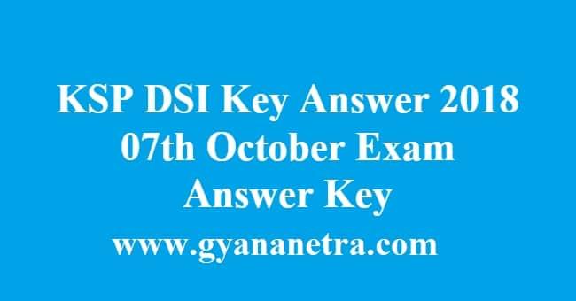 KSP DSI Key Answer