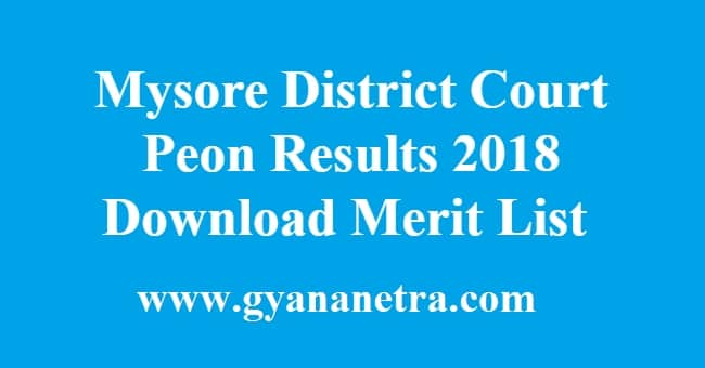 Mysore District Court Peon Results