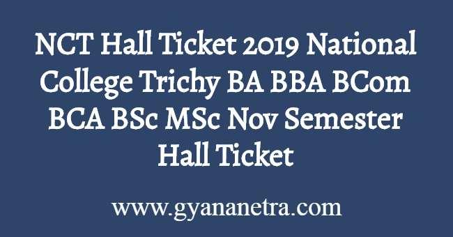 NCT Hall Ticket 2019