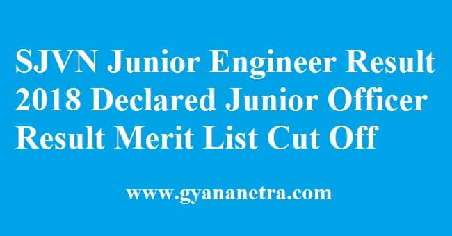 SJVN Junior Engineer Result