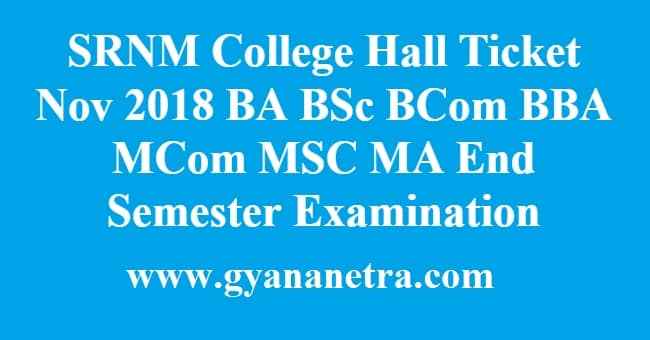 SRNM College Hall Ticket