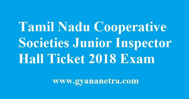 Tamil Nadu Cooperative Societies Junior Inspector Hall Ticket