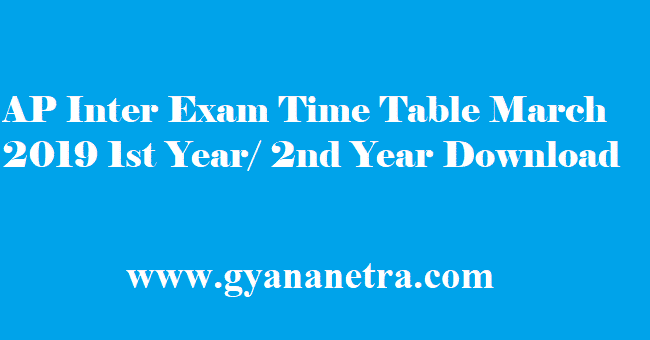 AP Inter Exam Time Table 2019
