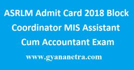 ASRLM Admit Card 2018
