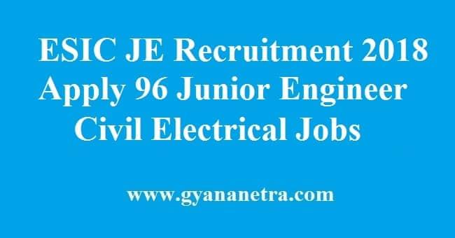 ESIC Junior Engineer Recruitment
