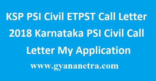 KSP PSI Civil ETPST Call Letter 2018