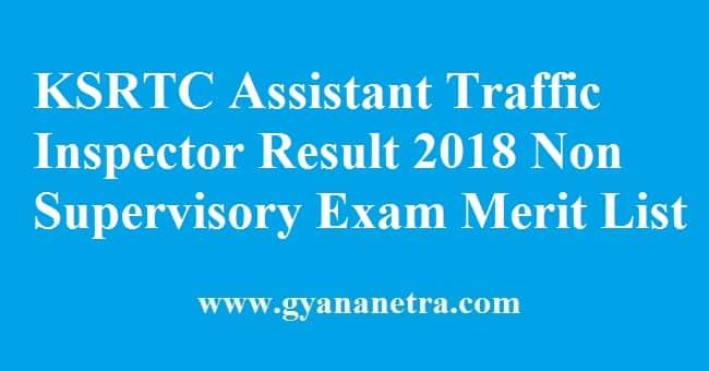 KSRTC Assistant Traffic Inspector Result
