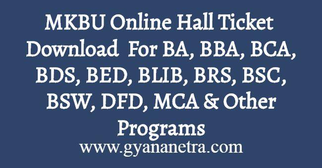 MKBU Online Hall Ticket Download