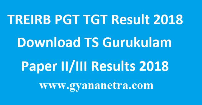 TREIRB PGT TGT Result 2018