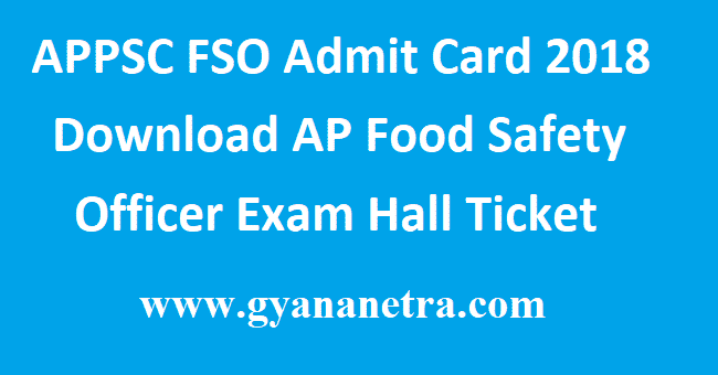 APPSC FSO Admit Card 2018