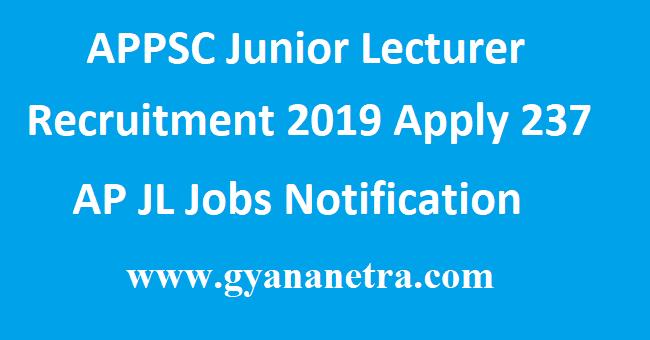 APPSC Junior Lecturer Recruitment 2019