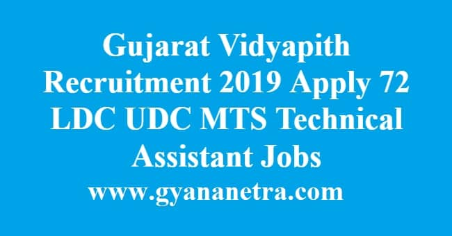 Gujarat Vidyapith Recruitment