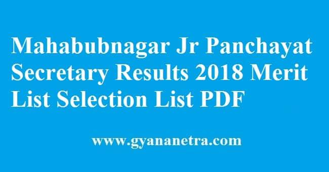 Mahabubnagar Junior Panchayat Secretary Results