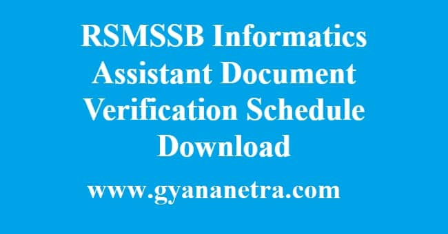 RSMSSB Informatics Assistant Document Verification