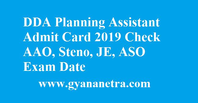 DDA Planning Assistant Admit Card
