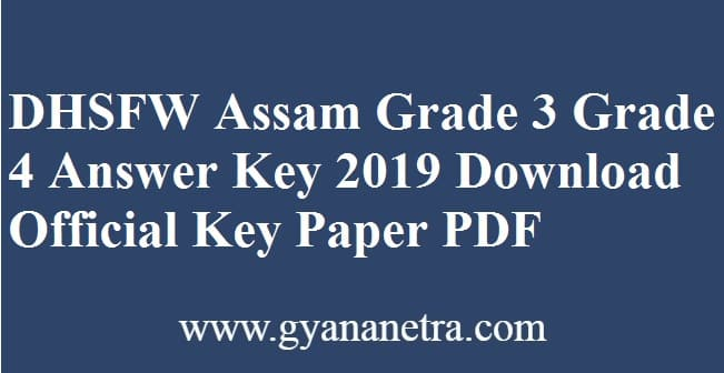 DHSFW Assam Grade 3 Grade 4 Answer Key