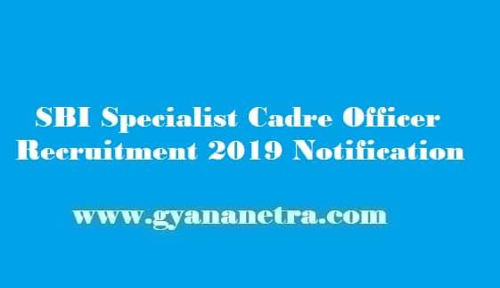 SBI Specialist Cadre Officer Recruitment 2019