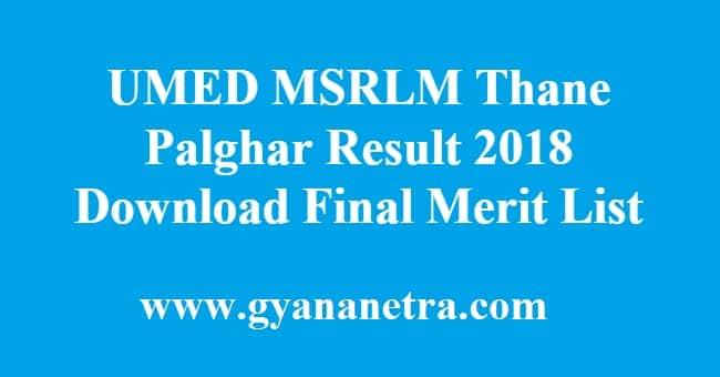 UMED MSRLM Thane Palghar Result