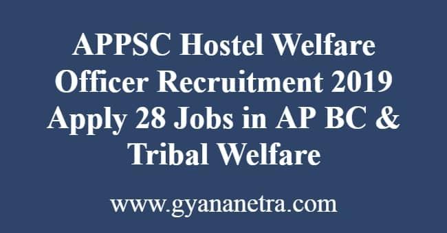 APPSC Hostel Welfare Officer Recruitment