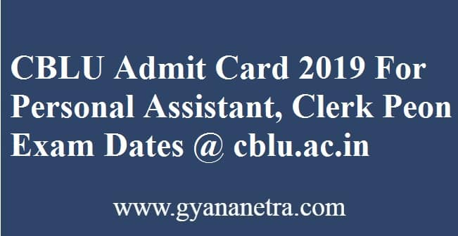 CBLU Admit Card