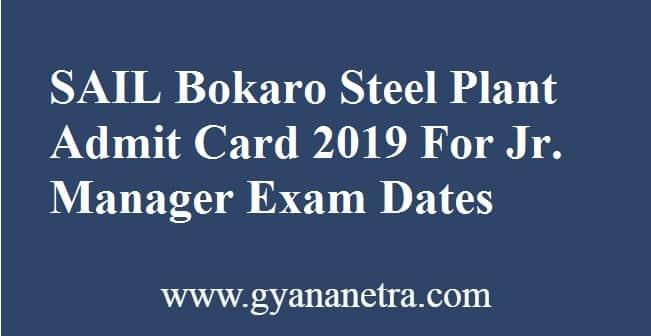 SAIL Bokaro Steel Plant Admit Card