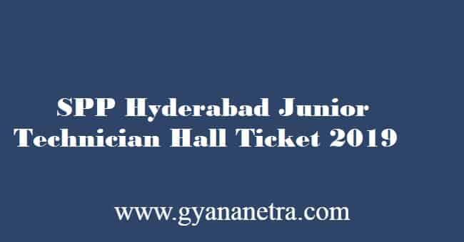 SPP Junior Technician Hall Ticket 2019