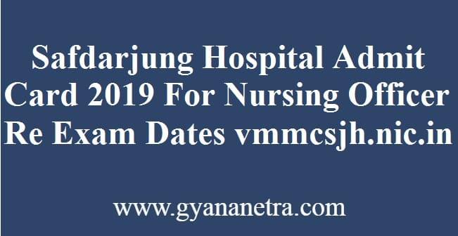 Safdarjung Hospital Admit Card