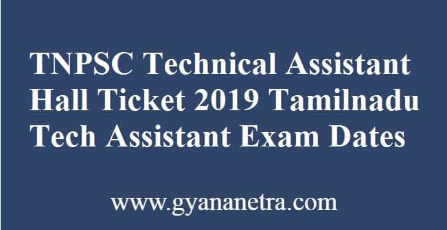 TNPSC Technical Assistant Hall Ticket
