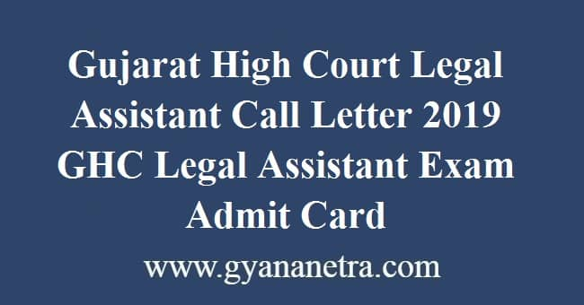 Gujarat High Court Legal Assistant Call Letter