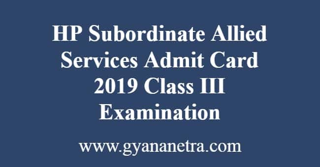 HP Subordinate Allied Services Admit Card