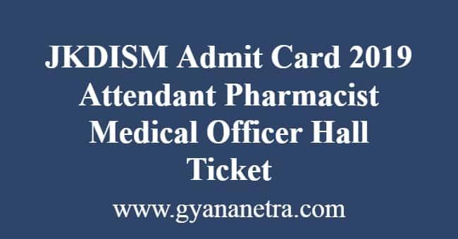 JKDISM Admit Card