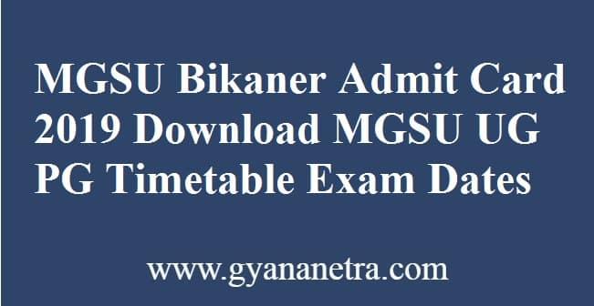 MGSU Bikaner Admit Card