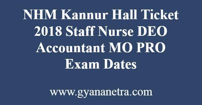 NHM Kannur Hall Ticket