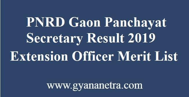 PNRD Gaon Panchayat Secretary Result