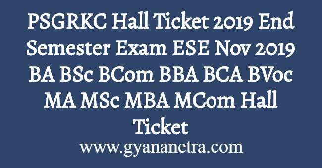PSGRKC Hall Ticket