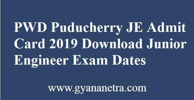 PWD Puducherry JE Admit Card