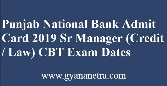Punjab National Bank Manager admit Card