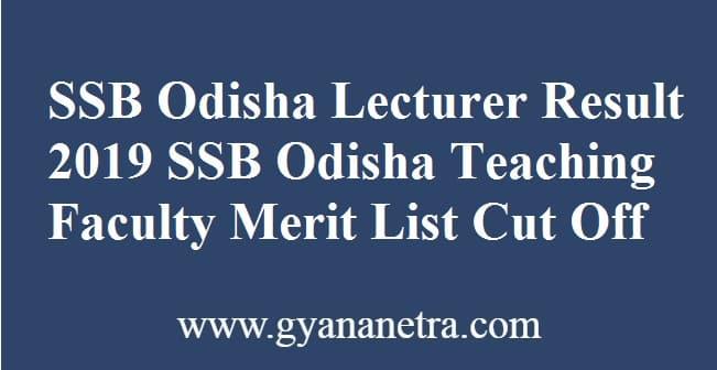 SSB Odisha Lecturer Result