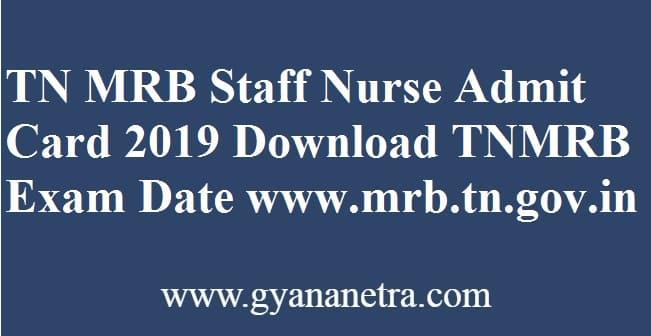 TN MRB Staff Nurse Admit Card