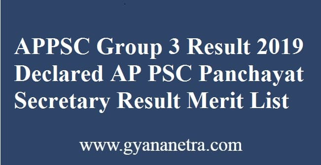 APPSC Group 3 Result