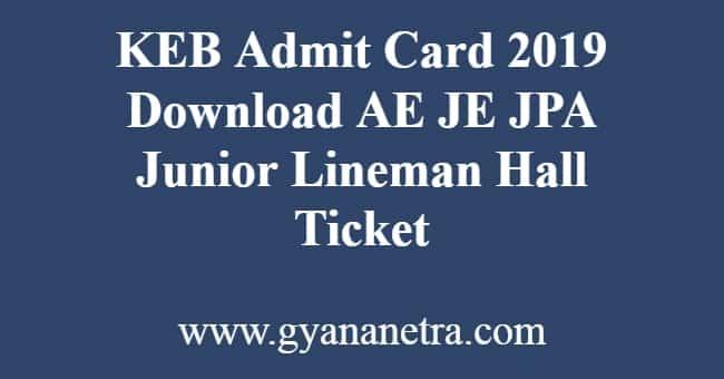 KEB Admit Card